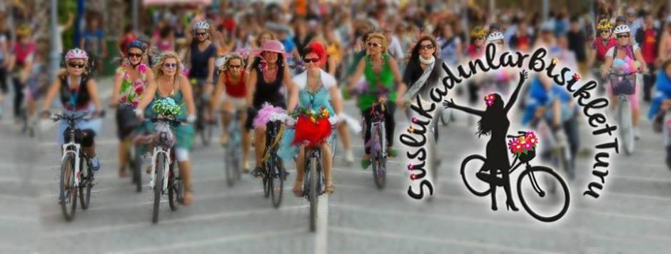 süslü kadınlar bisiklet turu logolu